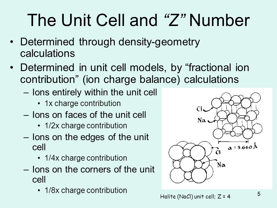 The Unit Cell and Z Number