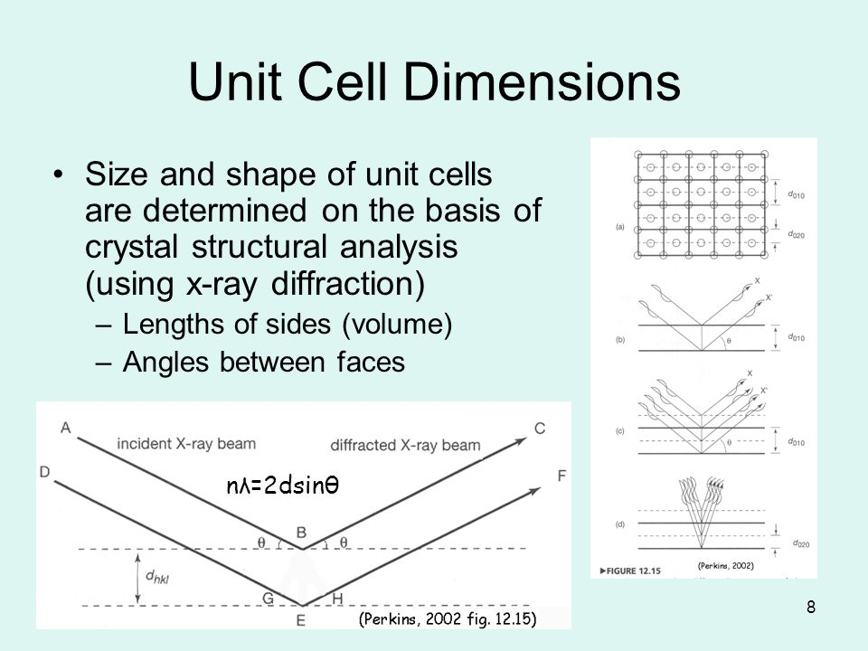 Unit Cell Dimensions Size and shape of unit cells are determined on the basis of crystal structural analysis (using x-ray diffraction)