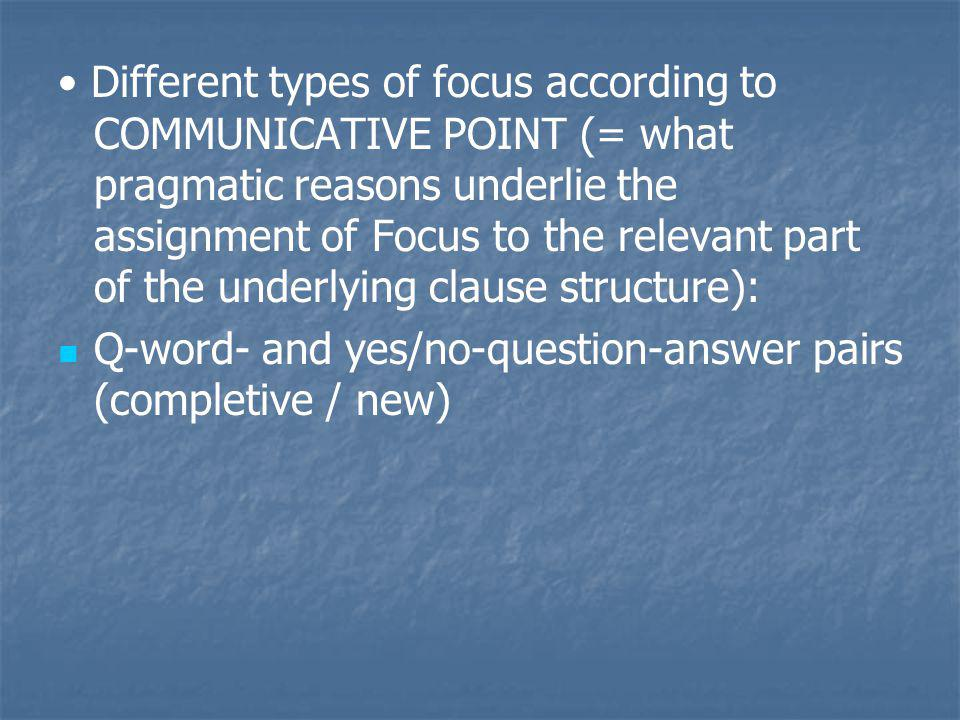 • Different types of focus according to COMMUNICATIVE POINT (= what pragmatic reasons underlie the assignment of Focus to the relevant part of the underlying clause structure):