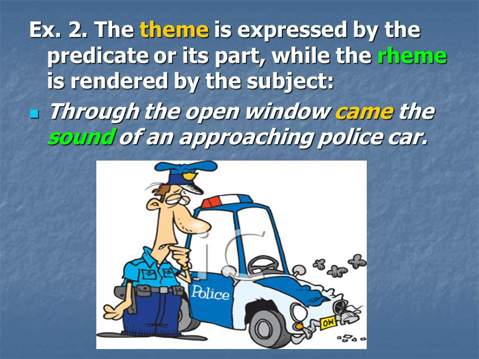 Ex. 2. The theme is expressed by the predicate or its part, while the rheme is rendered by the subject: