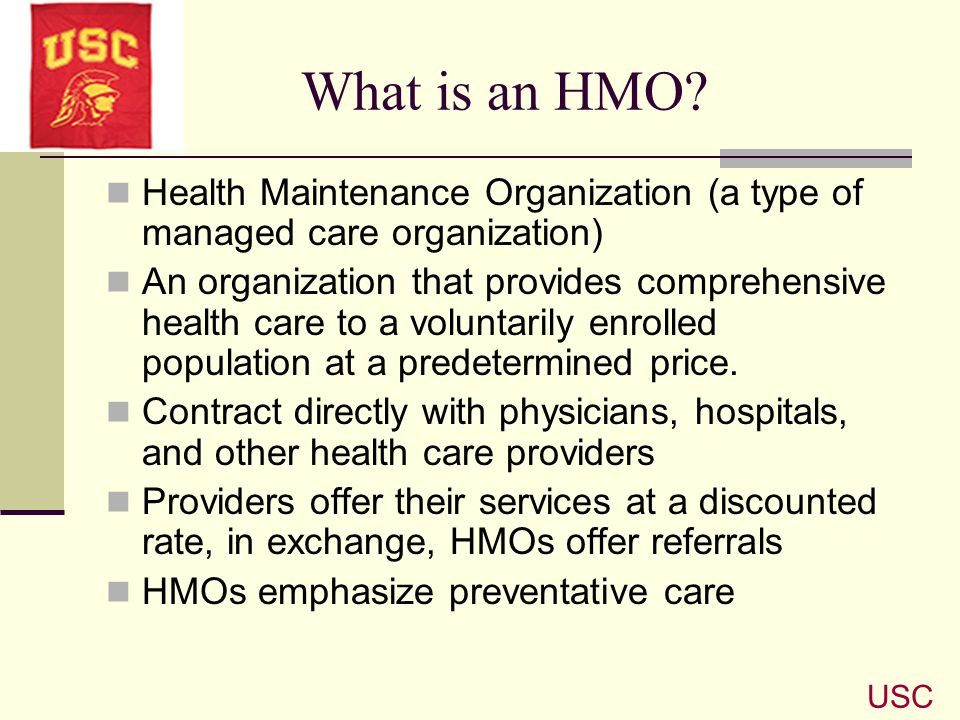 What is an HMO Health Maintenance Organization (a type of managed care organization)
