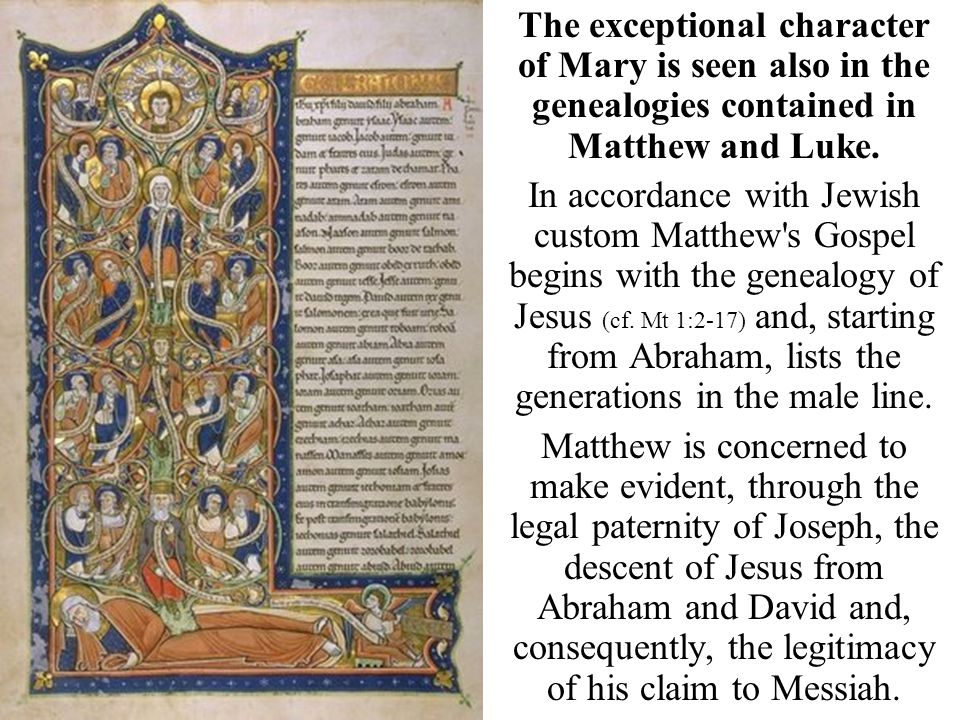 The exceptional character of Mary is seen also in the genealogies contained in Matthew and Luke.
