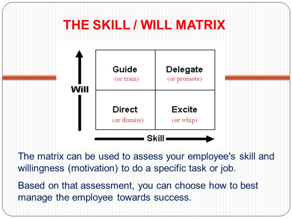 THE SKILL / WILL MATRIX (or train) (or promote) (or dismiss) (or whip)