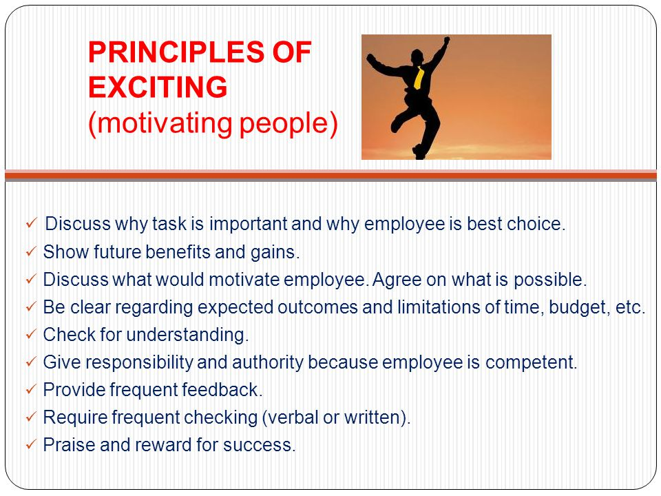 PRINCIPLES OF EXCITING (motivating people)