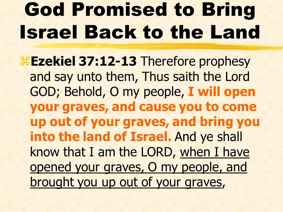God Promised to Bring Israel Back to the Land