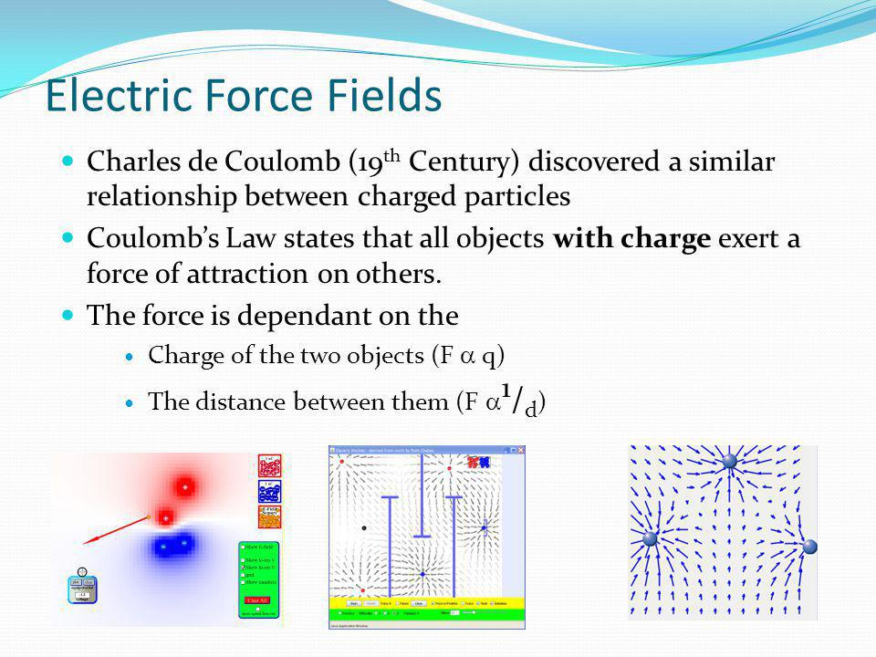 Electric Force Fields Charles de Coulomb (19th Century) discovered a similar relationship between charged particles.