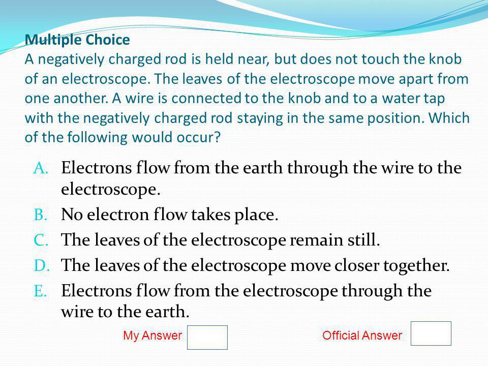 Electrons flow from the earth through the wire to the electroscope.