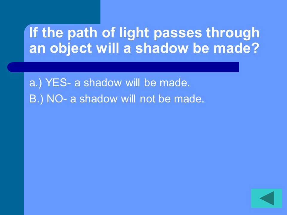 If the path of light passes through an object will a shadow be made