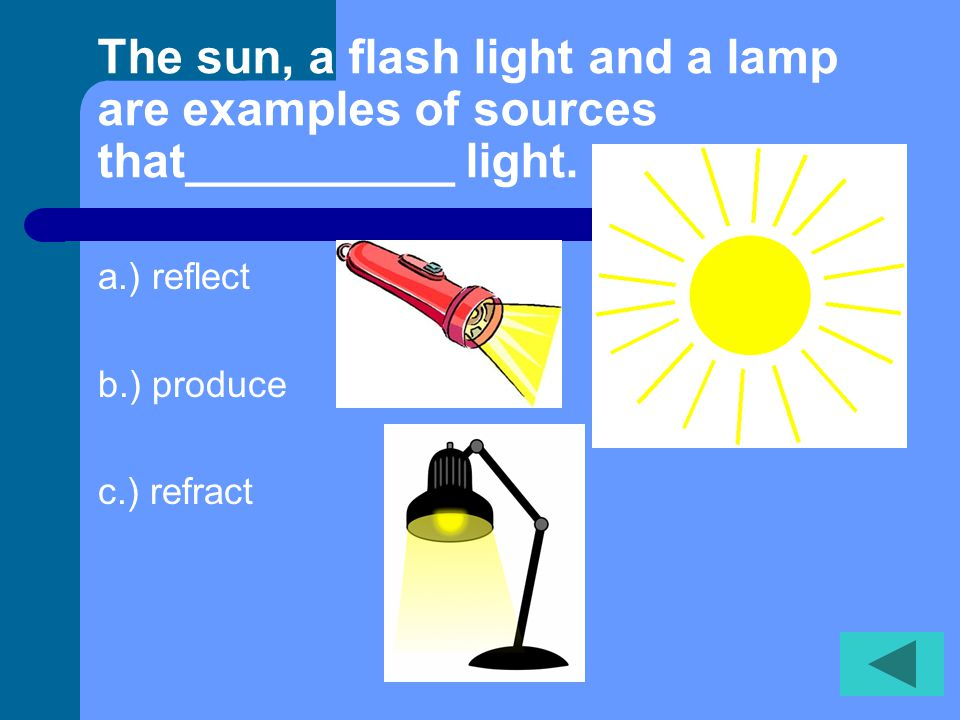 The sun, a flash light and a lamp are examples of sources that__________ light.