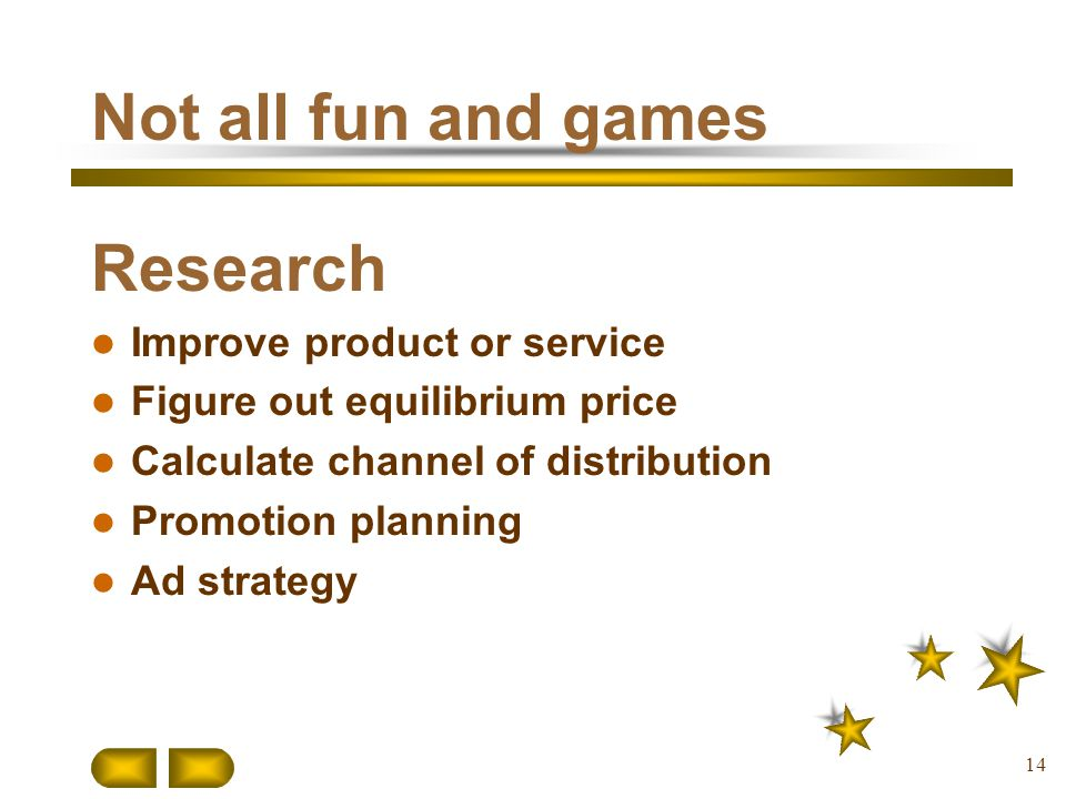 Not all fun and games Research Improve product or service