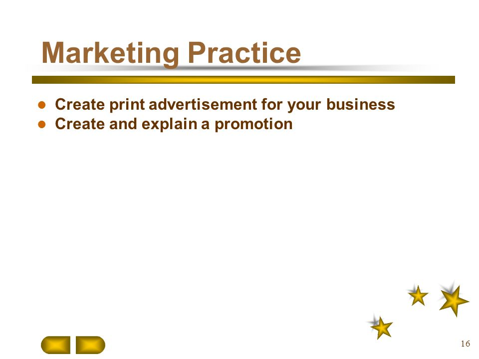 Marketing Practice Create print advertisement for your business