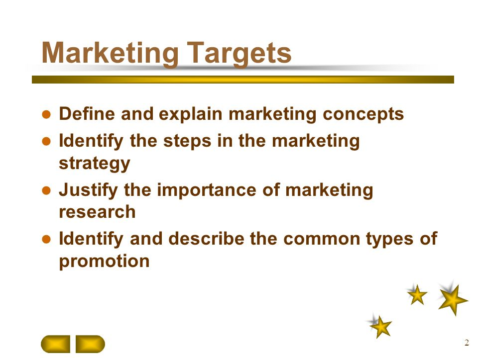 Marketing Targets Define and explain marketing concepts