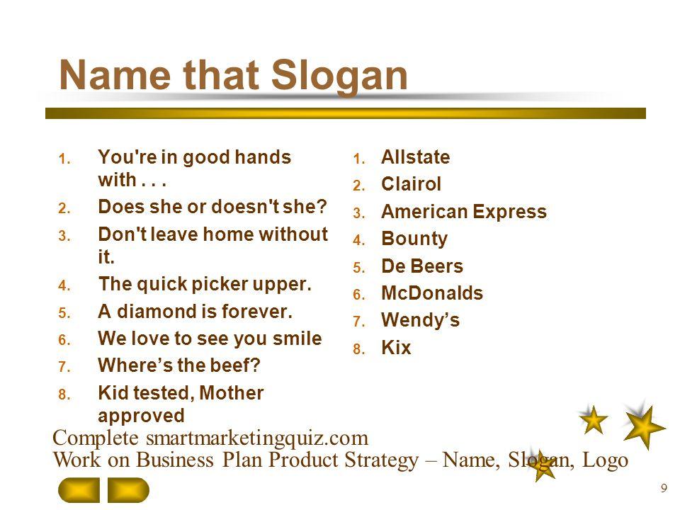 Name that Slogan Complete smartmarketingquiz.com