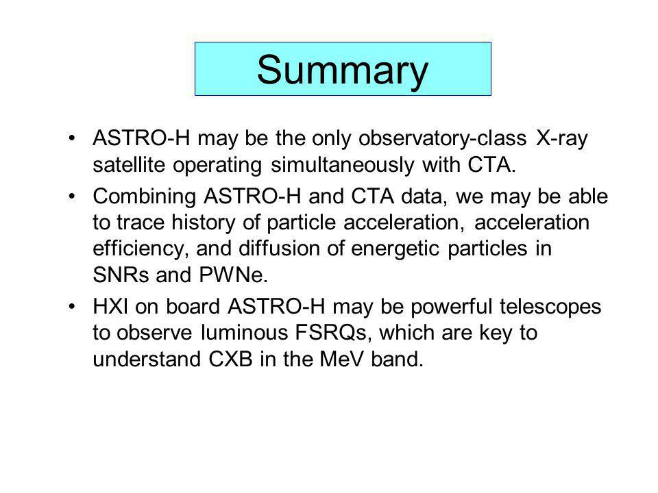 Summary ASTRO-H may be the only observatory-class X-ray satellite operating simultaneously with CTA.