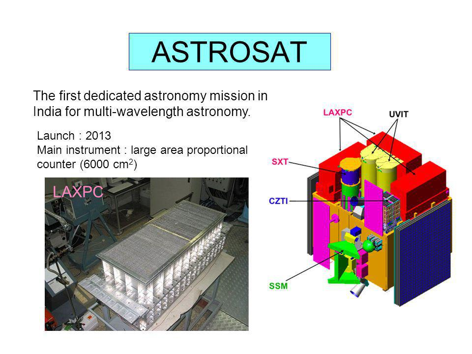 ASTROSAT The first dedicated astronomy mission in India for multi-wavelength astronomy. Launch : 2013.
