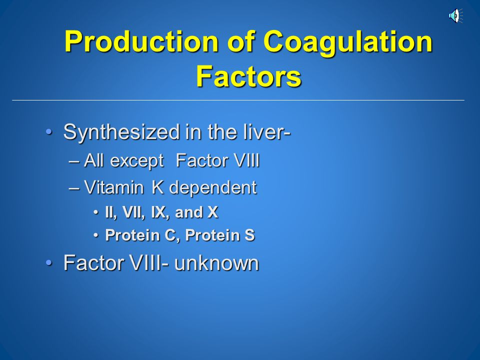 Production of Coagulation Factors