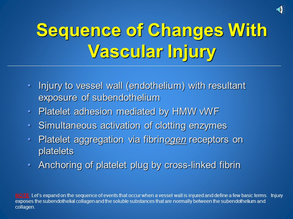 Sequence of Changes With Vascular Injury
