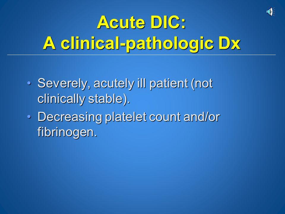 Acute DIC: A clinical-pathologic Dx