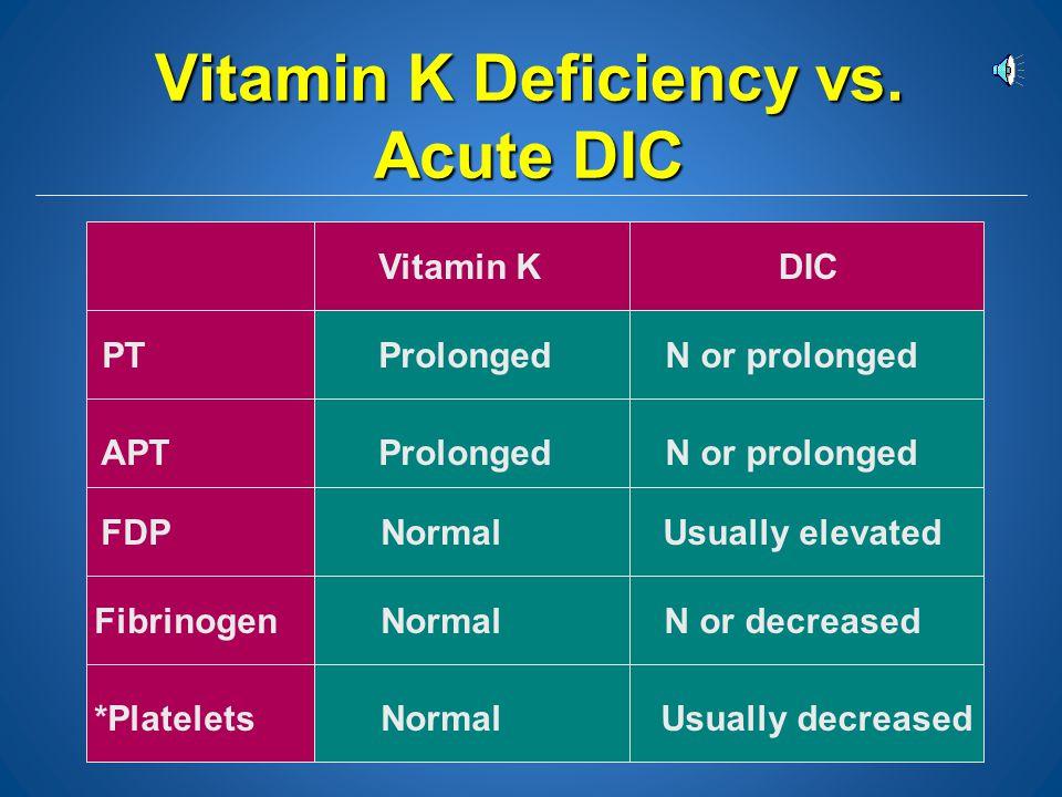Vitamin K Deficiency vs. Acute DIC