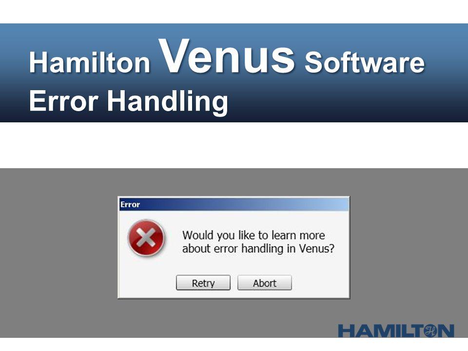 Hamilton Venus Software Error Handling