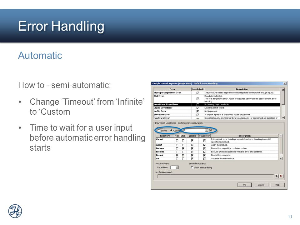 Error Handling Automatic How to - semi-automatic: