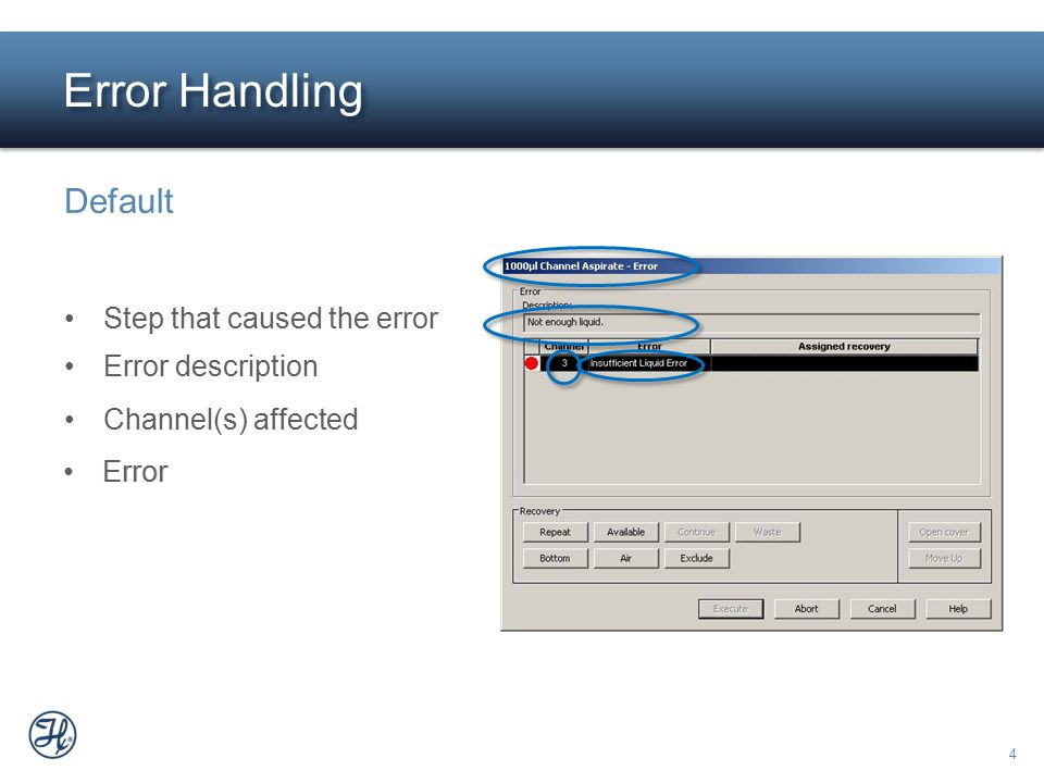 Error Handling Default Step that caused the error