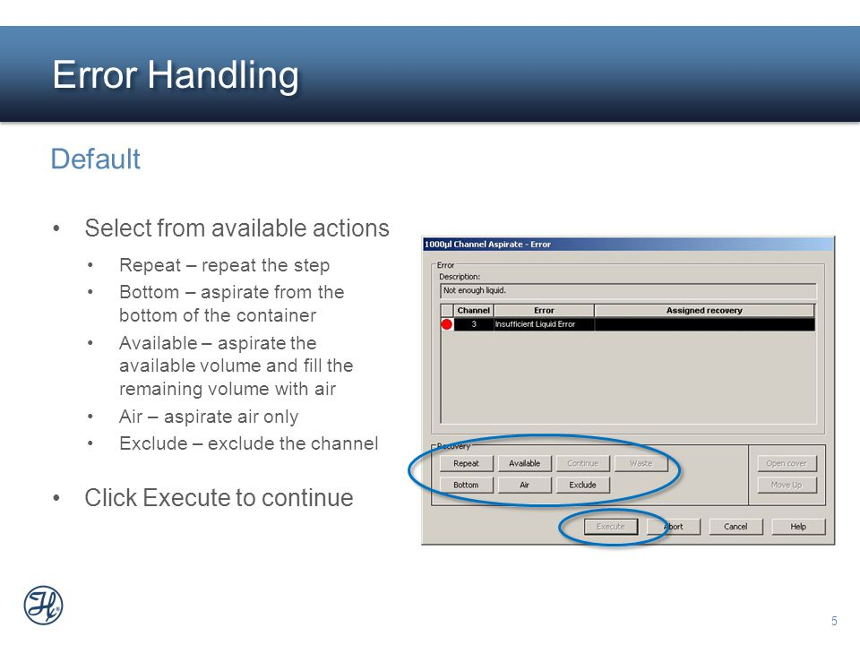 Error Handling Default Select from available actions