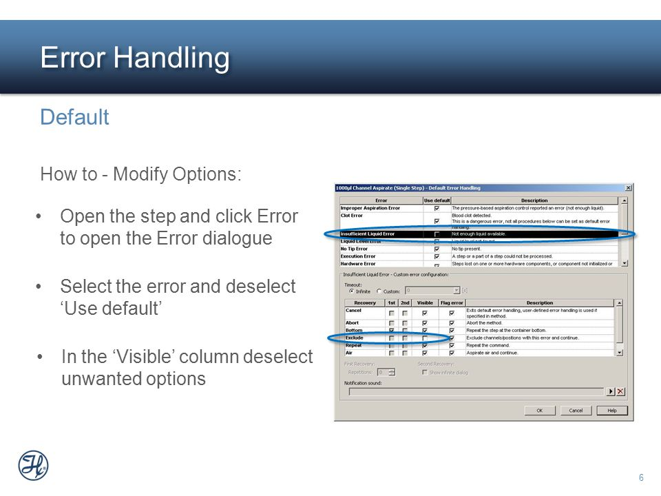 Error Handling Default How to - Modify Options: