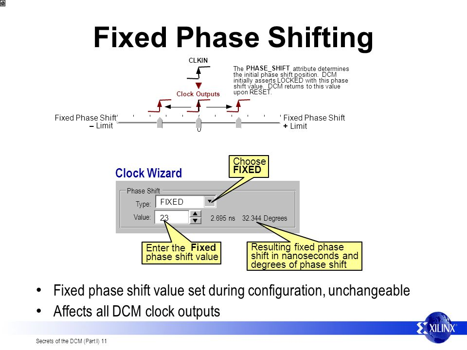 Fixed Phase Shifting CLKIN. Fixed Phase Shift. + Limit. – Limit. The. PHASE_SHIFT. attribute determines.