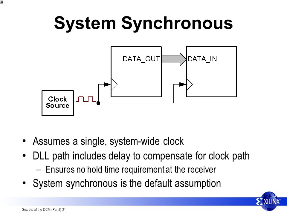 System Synchronous Assumes a single, system-wide clock
