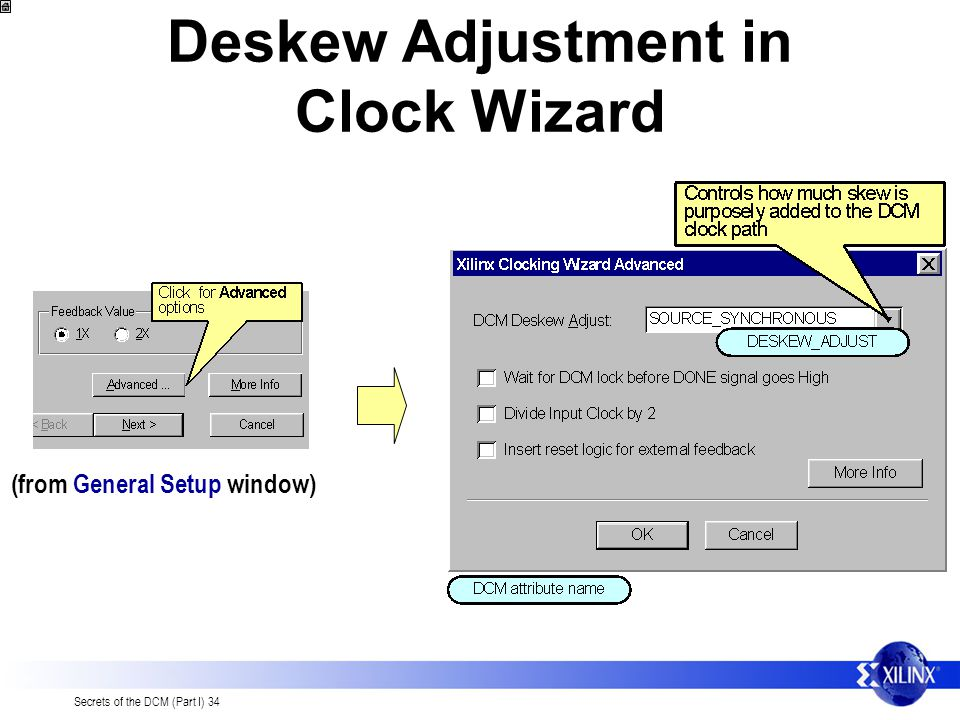 Deskew Adjustment in Clock Wizard