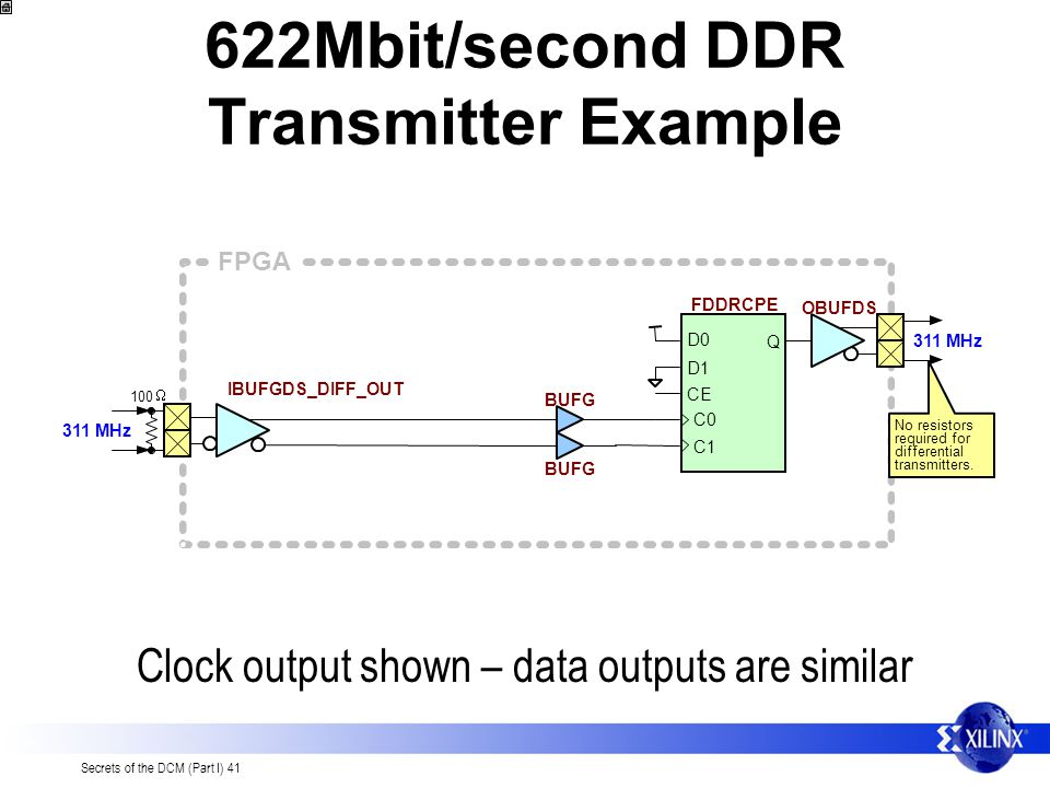 622Mbit/second DDR Transmitter Example