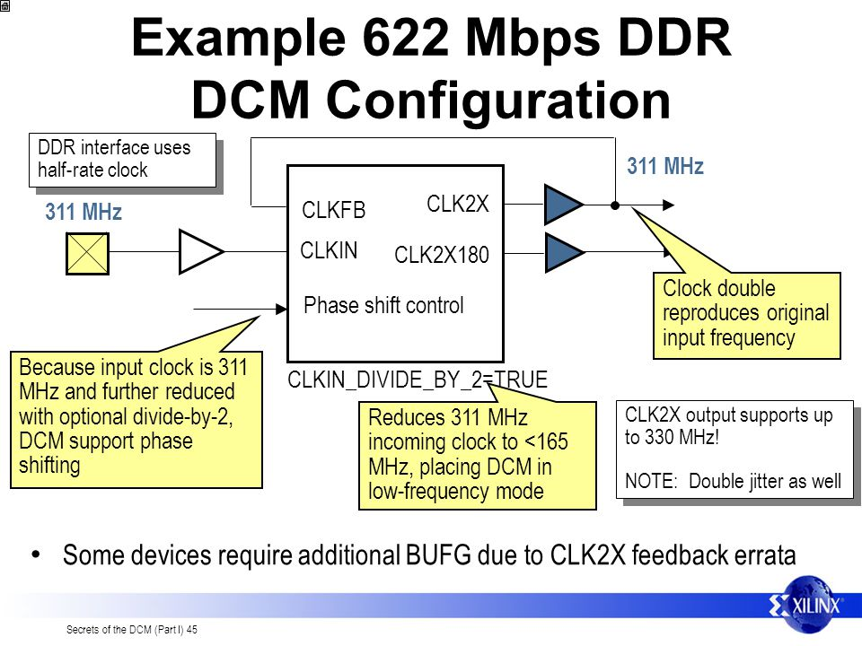 Example 622 Mbps DDR DCM Configuration