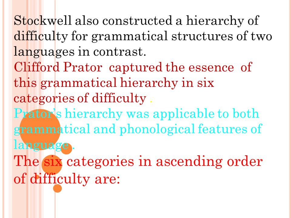 The six categories in ascending order of difficulty are: