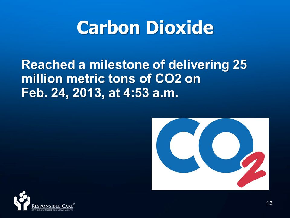 Carbon Dioxide Reached a milestone of delivering 25 million metric tons of CO2 on Feb.