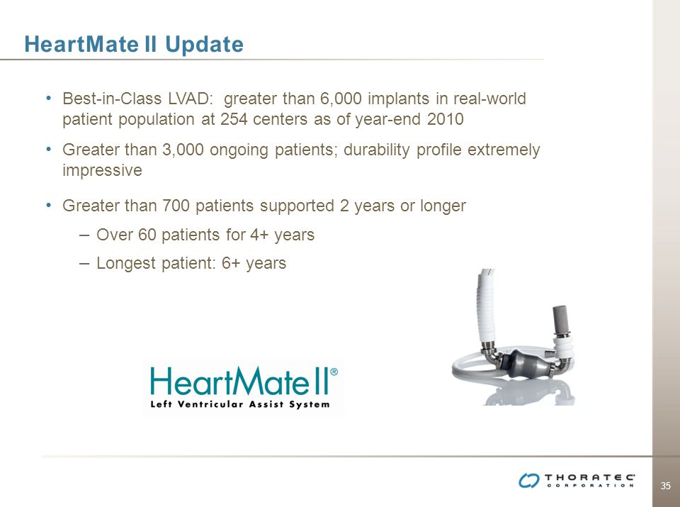 HeartMate II Update Best-in-Class LVAD: greater than 6,000 implants in real-world patient population at 254 centers as of year-end 2010.