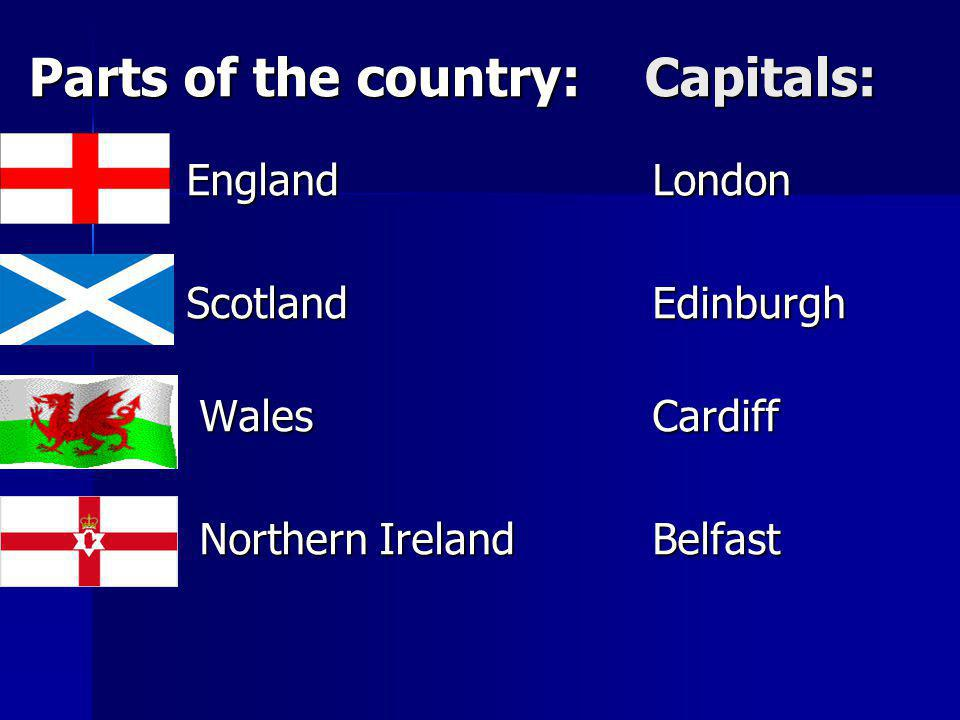 Parts of the country: Capitals: