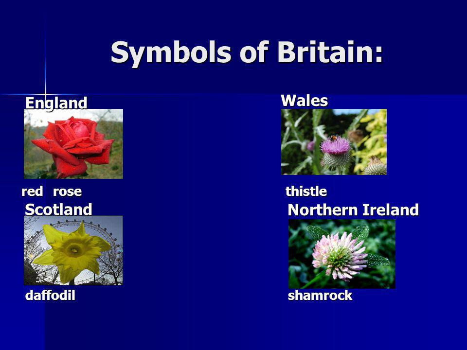 Symbols of Britain: Wales England Scotland
