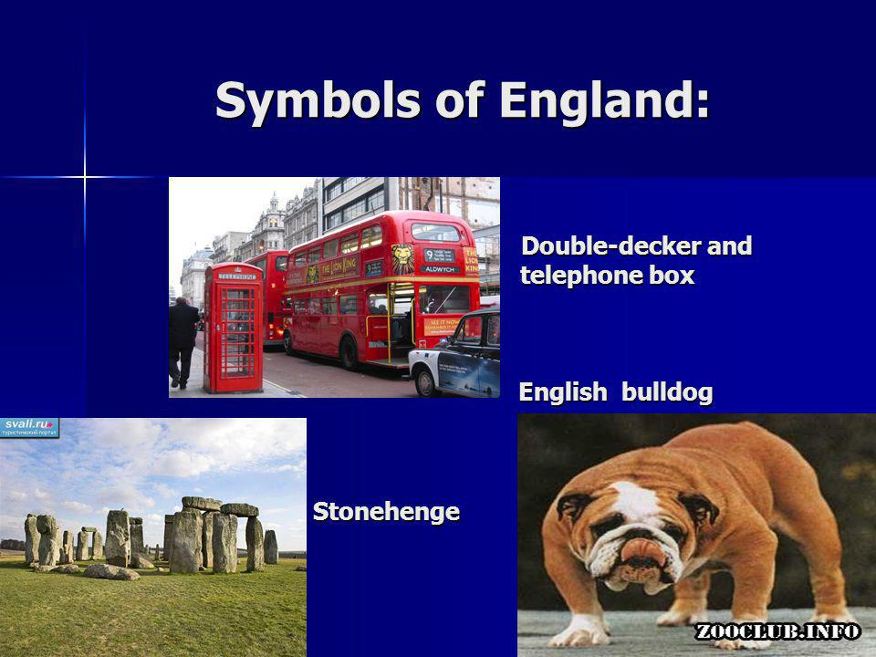 Symbols of England: telephone box Double-decker and English bulldog