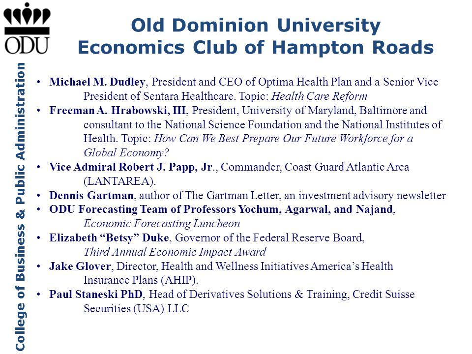 Old Dominion University Economics Club of Hampton Roads