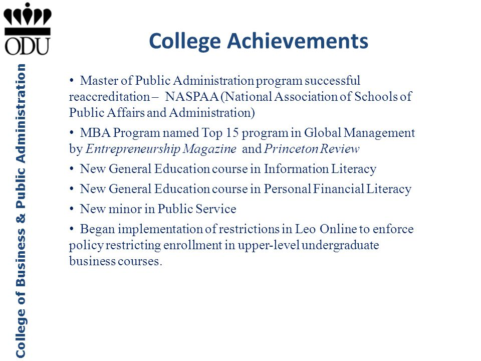 College Achievements