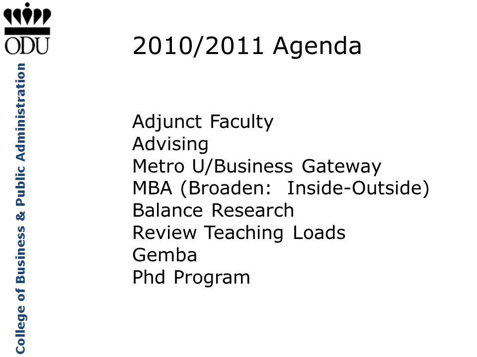 2010/2011 Agenda Adjunct Faculty Advising Metro U/Business Gateway
