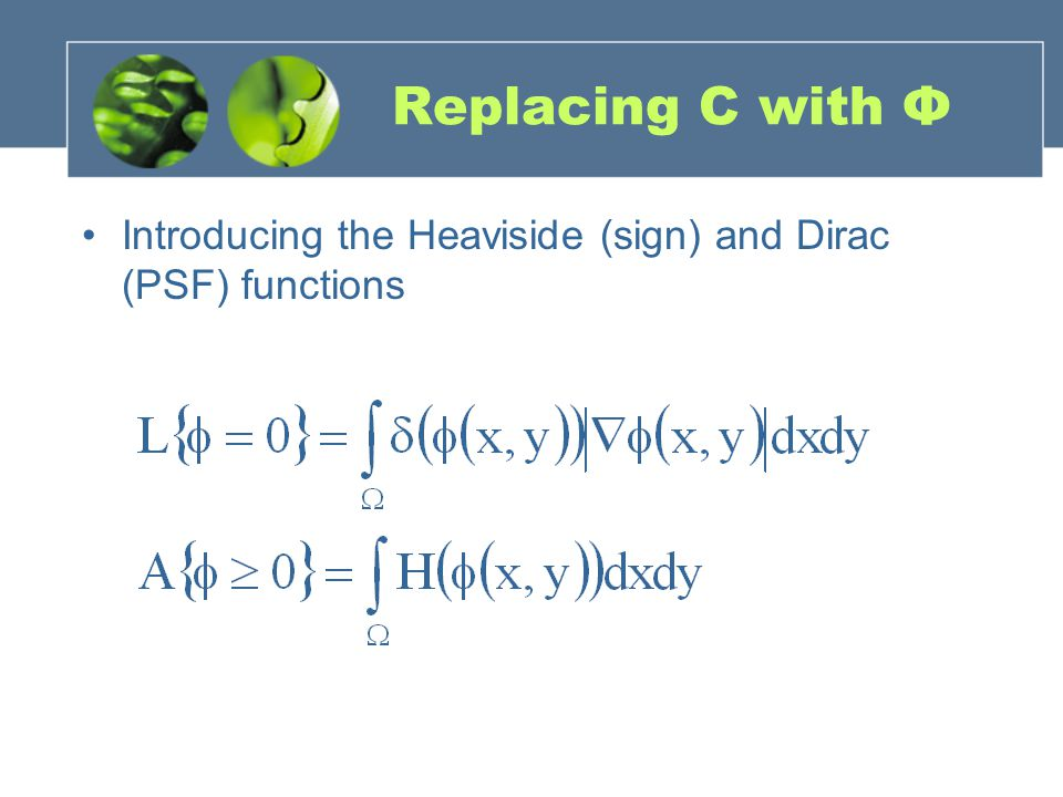Replacing C with Φ Introducing the Heaviside (sign) and Dirac (PSF) functions