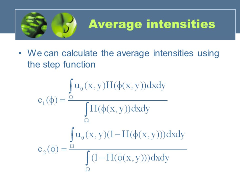 Average intensities We can calculate the average intensities using the step function