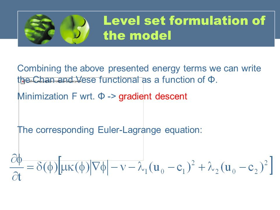 Level set formulation of the model