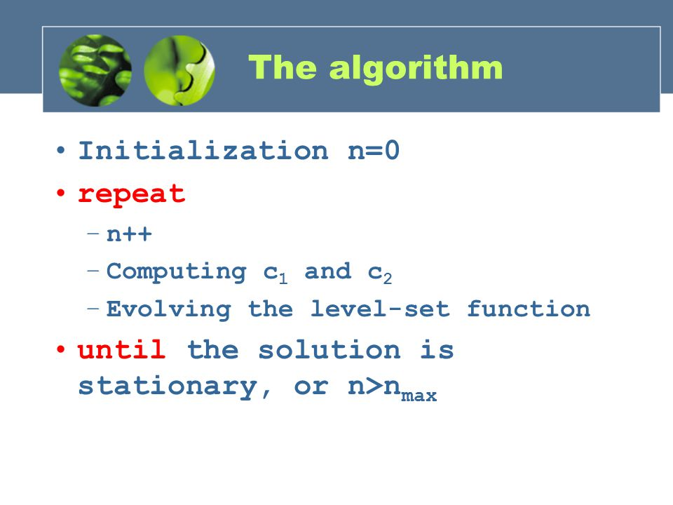 The algorithm Initialization n=0 repeat