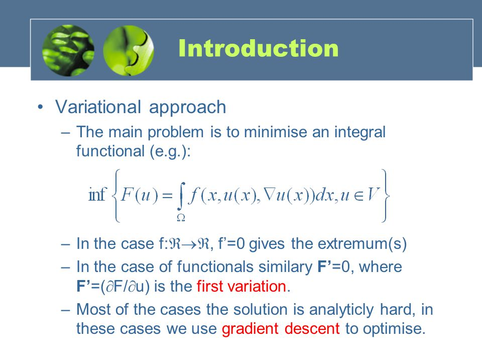 Introduction Variational approach