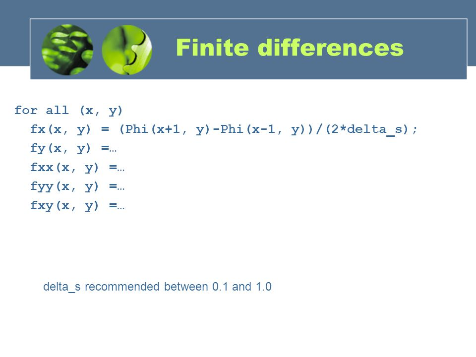 Finite differences for all (x, y)