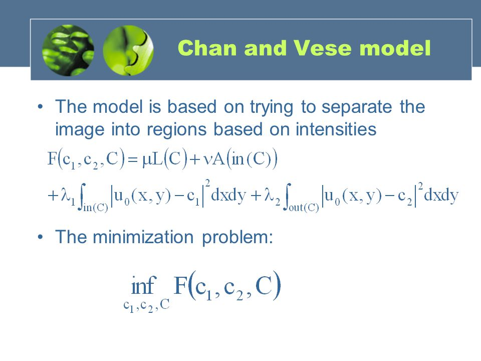Chan and Vese model The model is based on trying to separate the image into regions based on intensities.