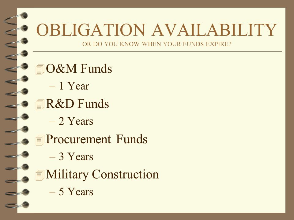 OBLIGATION AVAILABILITY OR DO YOU KNOW WHEN YOUR FUNDS EXPIRE